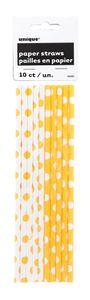 """Trinkhalme aus Papier """"Punkte"""" 10 Stück gelb"""