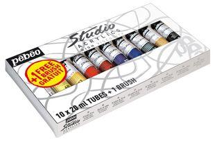 Pebeo Acrylfarben-Set 10 Tuben + Pinsel