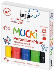 "KREUL Mucki Porzellanmalstifte ""Porzellan-Pirat"" 5 Stück mehrere Farben"