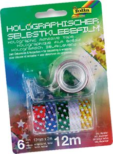 """FOLIA Washi Tape """"Sterne"""" 12 mm x 2 m holographisch 6 Rollen"""