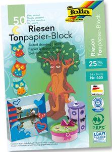 FOLIA Riesen-Tonpapierblock 50 Blatt 24 x 34 cm mehrere Farben