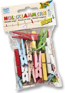 FOLIA Holzklammern 48 Stück mehrere Farben