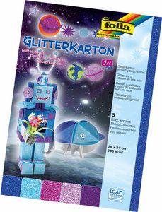 "FOLIA Glitterkarton ""Ice"" 24 x 34 cm mehrere Farben"