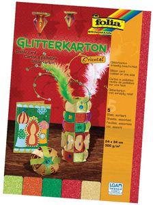 "FOLIA Glitterkarton ""Oriental"" 24 x 34 cm 5 Blatt mehrere Farben"