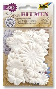 FOLIA Papierblumen 30 Stück weiß