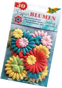 FOLIA Papierblumen 30 Stück bunt