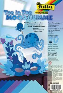 "FOLIA Moosgummi ""Ton in Ton"" 10 Bögen 20 x 29 cm blau"