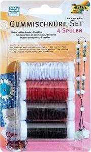 FOLIA Gummischnüre Set 4 Stück mehrere Farben