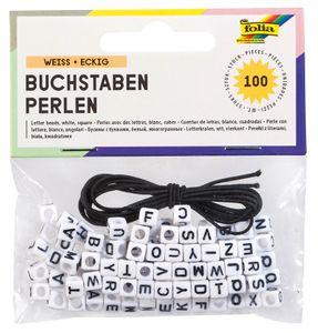 FOLIA Buchstaben-Perlen 100 Stück weiss
