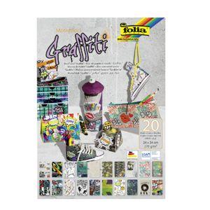 """FOLIA Motivblock """"Graffiti"""" 24 x 34 cm 20 Blatt bunt"""