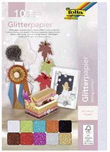 FOLIA Glitterpapier 24 x 34 cm 10 Blatt mehrere Farben
