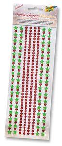 """FOLIA Schmucksteinbordüre """"Weihnachten"""" selbstklebend rot/grün"""