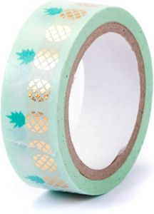 "Washi Tape ""Ananas"" 15 mm x 5 m mit Metallic-Effekt mintgrün"