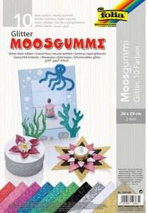 """FOLIA Moosgummi """"Glitter"""" 10 Blatt 20 x 29 cm mehrere Farben"""