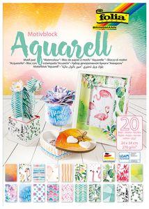 """FOLIA Motivblock """"Aquarell"""" 20 Blatt 24 x 34 cm bunt"""