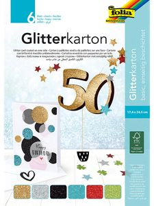 "FOLIA Glitterkarton ""Basic"" 17,4 x 24,5 cm 6 Blatt mehrere Farben"