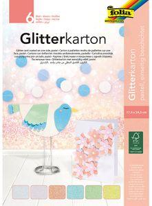"FOLIA Glitterkarton ""Pastell"" 17,4 x 24,5 cm 6 Blatt mehrere Farben"