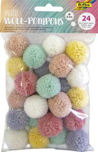 "FOLIA Woll-Pompons ""Pastell"" 24 Stück mehrere Farben"