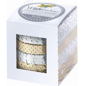 """FOLIA Washi-Dekor """"Hotfoil"""" 4 Stück gold/silber"""