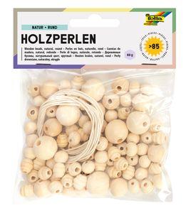 FOLIA Holzperlen rund inkl. 2 Schnüre 85 Teile natur
