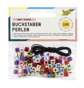 FOLIA Buchstaben-Perlen 100 Stück mehrere Farben