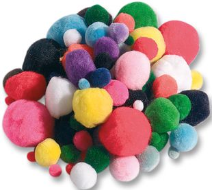 FOLIA Pompons 100 Stück mehrere Farben