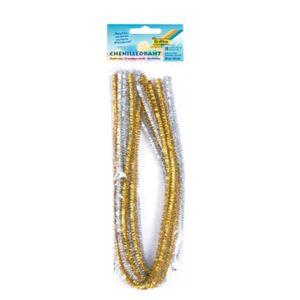 FOLIA Chenilledraht 50 cm 10 Stück gold/silber