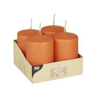 PAPSTAR Stumpenkerzen 4 Stück Ø 5 cm H: 8 cm orange