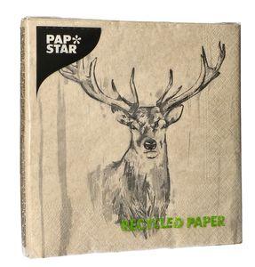 """PAPSTAR Servietten """"Colourful Deer"""" 33 x 33 cm 20 Stück natur"""