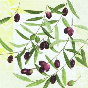 "PAPSTAR Servietten ""Olive Twig"" 20 Stück 1/4-Falz 33 x 33 cm"