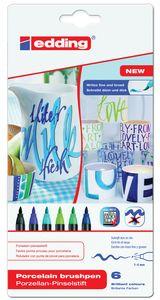 EDDING Porzellan Pinselstifte 6 Stück Blau-/Grüntöne