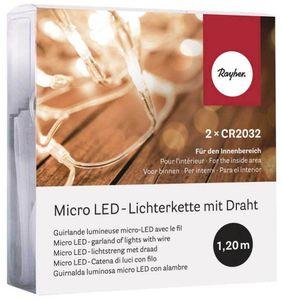 RAYHER LED-Microlichterkette mit 10 Lämpchen + 1,2 transparentem Kabel