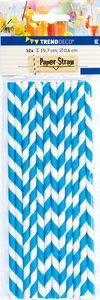 Trinkhalme aus Papier 12 Stück blau
