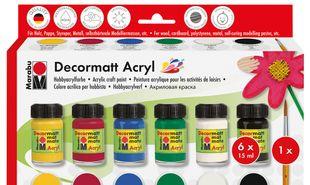 "MARABU Acrylfarben ""Decormatt"" Starter-Set 6 x 15 ml mehrere Farben"
