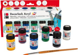 "MARABU Acrylfarben ""Decorlack"" Starter-Set 6 x 15 ml mehrere Farben"