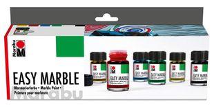 "MARABU Marmorierfarben-Set ""Easy Marble"" 6 x 15 ml mehrere Farben"