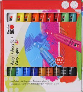 MARABU Acrylfarben Set 18 x 36 ml mehrere Farben