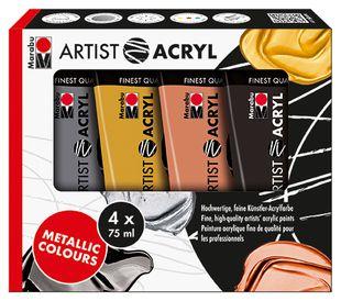 "MARABU Acrylfarben Set ""Artist -Metallic"" 4 x 75 ml mehrere Farben"