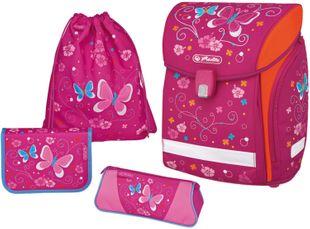 """HERLITZ Schultaschenset """"Midi"""" Schmetterling 4-teilig pink"""