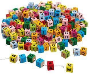 """Holzwürfel """"Buchstaben"""" 7 x 7 x 7 mm mehrere Farben"""
