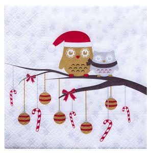 """Servietten """"Weihnachtseulen"""" 20 Stück 3-lagig 33 x 33 cm bunt"""