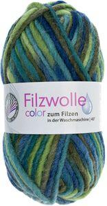 """GRÜNDL Filzwolle """"Color"""" 50g grün/blau/grau"""