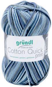 """GRÜNDL Strickgarn """"Cotton Quick print"""" blau"""