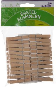 I-MONDI Holzbastelklammer 48 x 7 mm 48 Stück natur