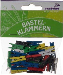 I-MONDI Mini-Holzbastelklammern 25 x 3 mm 45 Stück bunt
