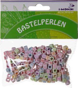 I-MONDI Buchstaben Bastelperlen 300 Stück 0,6 x 0,6 cm bunt