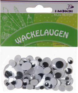I-MONDI Wackelaugen oval 75 Stück mehrere Größen selbstklebend