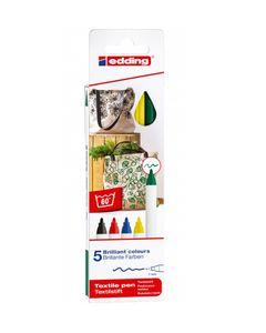 """EDDING Textilstifte-Set """"Basic"""" 5 Stück mehrere Farben"""
