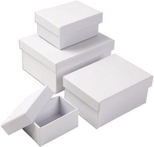 Pappboxen rechteckig 4 Stück weiß
