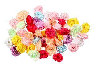 Satin-Röschen 50 Stück mehrere Farben
